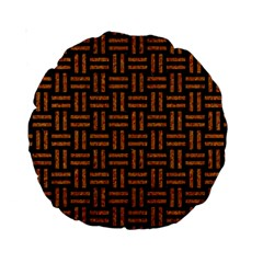 Woven1 Black Marble & Teal Leather (r) Standard 15  Premium Round Cushions by trendistuff