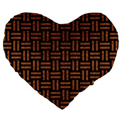 Woven1 Black Marble & Teal Leather (r) Large 19  Premium Heart Shape Cushions by trendistuff