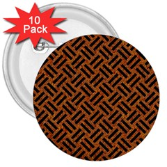 Woven2 Black Marble & Teal Leather 3  Buttons (10 Pack)  by trendistuff