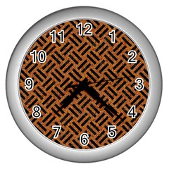 Woven2 Black Marble & Teal Leather Wall Clocks (silver)  by trendistuff