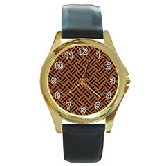Woven2 Black Marble & Teal Leather Round Gold Metal Watch by trendistuff