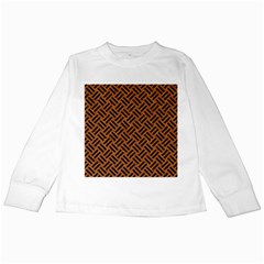 Woven2 Black Marble & Teal Leather Kids Long Sleeve T Shirts by trendistuff