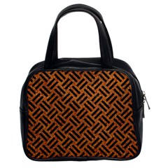 Woven2 Black Marble & Teal Leather Classic Handbags (2 Sides) by trendistuff