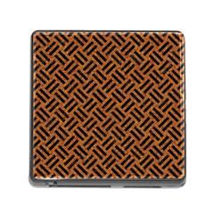 Woven2 Black Marble & Teal Leather Memory Card Reader (square) by trendistuff
