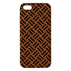Woven2 Black Marble & Teal Leather Iphone 5s/ Se Premium Hardshell Case by trendistuff