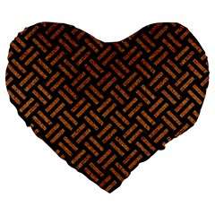 Woven2 Black Marble & Teal Leather (r) Large 19  Premium Flano Heart Shape Cushions by trendistuff