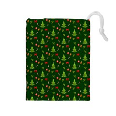 Christmas Pattern Drawstring Pouches (large)  by Valentinaart