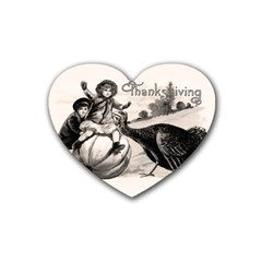 Vintage Thanksgiving Heart Coaster (4 Pack)  by Valentinaart