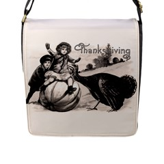Vintage Thanksgiving Flap Messenger Bag (l)  by Valentinaart
