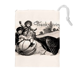 Vintage Thanksgiving Drawstring Pouches (extra Large) by Valentinaart