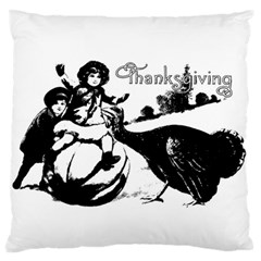 Vintage Thanksgiving Large Flano Cushion Case (one Side) by Valentinaart