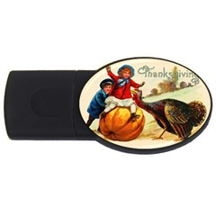 Vintage Thanksgiving Usb Flash Drive Oval (4 Gb) by Valentinaart