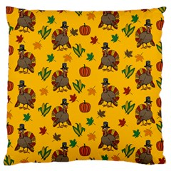 Thanksgiving Turkey  Large Cushion Case (one Side) by Valentinaart