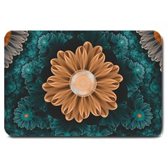 Beautiful Paradise Chrysanthemum Of Orange And Aqua Large Doormat  by beautifulfractals