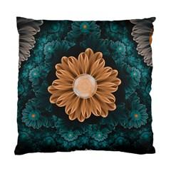 Beautiful Paradise Chrysanthemum Of Orange And Aqua Standard Cushion Case (one Side) by beautifulfractals