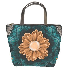 Beautiful Paradise Chrysanthemum Of Orange And Aqua Bucket Bags by beautifulfractals