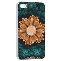 Beautiful Paradise Chrysanthemum Of Orange And Aqua Apple Iphone 4/4s Seamless Case (white) by beautifulfractals