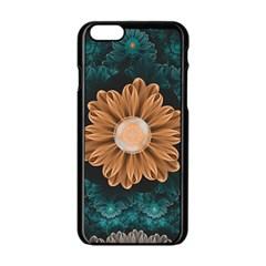 Beautiful Paradise Chrysanthemum Of Orange And Aqua Apple Iphone 6/6s Black Enamel Case by beautifulfractals