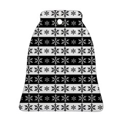 Snowflakes   Christmas Pattern Bell Ornament (two Sides) by Valentinaart