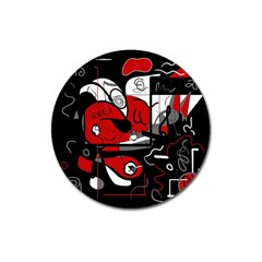 Red Black And White Abstraction Magnet 3  (round) by Valentinaart