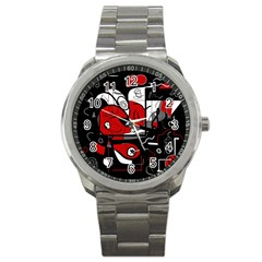 Red Black And White Abstraction Sport Metal Watch by Valentinaart