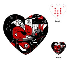 Red Black And White Abstraction Playing Cards (heart)  by Valentinaart
