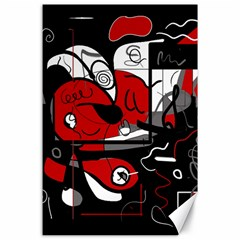 Red Black And White Abstraction Canvas 24  X 36  by Valentinaart