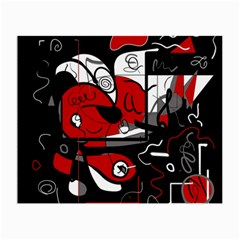 Red Black And White Abstraction Small Glasses Cloth (2 Side) by Valentinaart