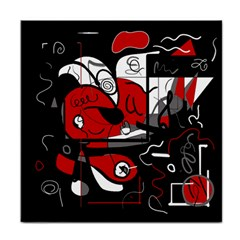 Red Black And White Abstraction Face Towel by Valentinaart