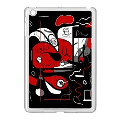 Red Black And White Abstraction Apple Ipad Mini Case (white) by Valentinaart