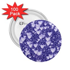 Hearts On Sparkling Glitter Print, Blue 2 25  Buttons (100 Pack)  by MoreColorsinLife
