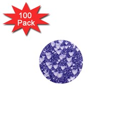 Hearts On Sparkling Glitter Print, Blue 1  Mini Magnets (100 Pack)  by MoreColorsinLife