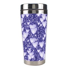 Hearts On Sparkling Glitter Print, Blue Stainless Steel Travel Tumblers by MoreColorsinLife