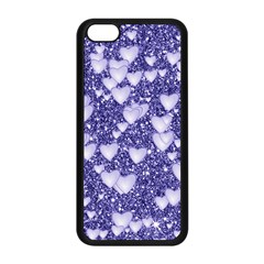 Hearts On Sparkling Glitter Print, Blue Apple Iphone 5c Seamless Case (black) by MoreColorsinLife