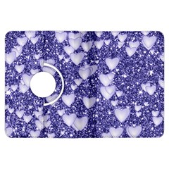 Hearts On Sparkling Glitter Print, Blue Kindle Fire Hdx Flip 360 Case by MoreColorsinLife