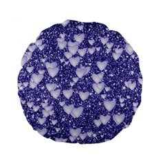 Hearts On Sparkling Glitter Print, Blue Standard 15  Premium Flano Round Cushions by MoreColorsinLife