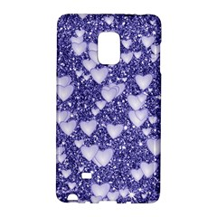 Hearts On Sparkling Glitter Print, Blue Galaxy Note Edge by MoreColorsinLife