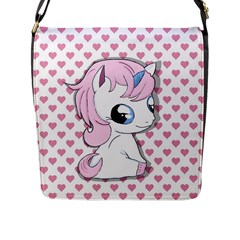 Baby Unicorn Flap Messenger Bag (l)  by Valentinaart