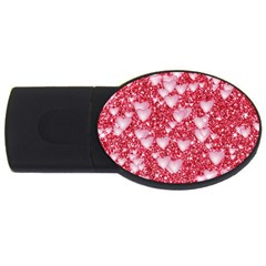 Hearts On Sparkling Glitter Print, Red Usb Flash Drive Oval (4 Gb) by MoreColorsinLife