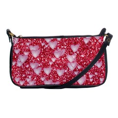 Hearts On Sparkling Glitter Print, Red Shoulder Clutch Bags by MoreColorsinLife