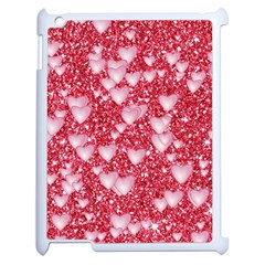 Hearts On Sparkling Glitter Print, Red Apple Ipad 2 Case (white) by MoreColorsinLife
