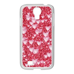 Hearts On Sparkling Glitter Print, Red Samsung Galaxy S4 I9500/ I9505 Case (white) by MoreColorsinLife