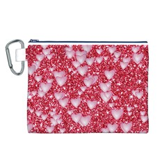 Hearts On Sparkling Glitter Print, Red Canvas Cosmetic Bag (l) by MoreColorsinLife