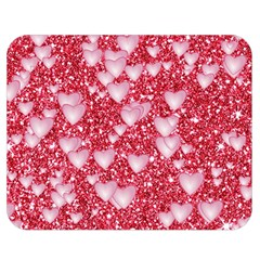 Hearts On Sparkling Glitter Print, Red Double Sided Flano Blanket (medium)  by MoreColorsinLife