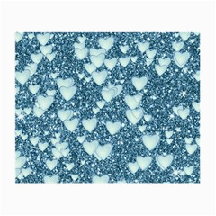 Hearts On Sparkling Glitter Print, Teal Small Glasses Cloth by MoreColorsinLife