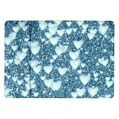 Hearts On Sparkling Glitter Print, Teal Samsung Galaxy Tab 10 1  P7500 Flip Case by MoreColorsinLife