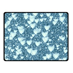 Hearts On Sparkling Glitter Print, Teal Double Sided Fleece Blanket (small)  by MoreColorsinLife