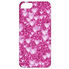 Hearts On Sparkling Glitter Print, Pink Apple Iphone 5 Classic Hardshell Case by MoreColorsinLife