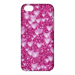 Hearts On Sparkling Glitter Print, Pink Apple Iphone 5c Hardshell Case by MoreColorsinLife