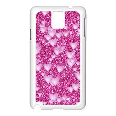 Hearts On Sparkling Glitter Print, Pink Samsung Galaxy Note 3 N9005 Case (white) by MoreColorsinLife